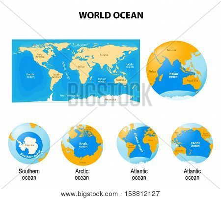 World Ocean or global ocean. Set of globes with different continents oceans and a map earth.