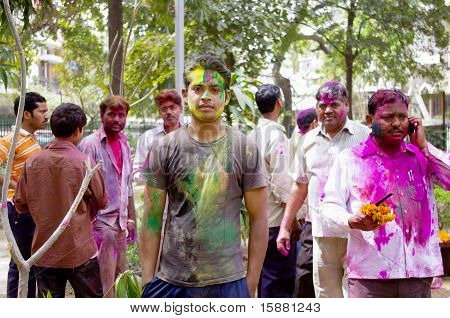 Men Celebrating Holi Festival