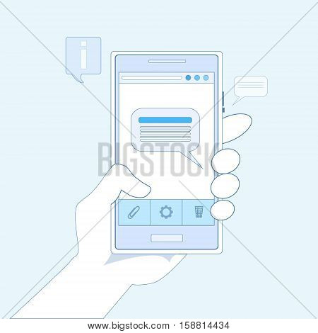 Hand Hold Cell Smart Phone Application Online Message Chat Network Communication Vector Illustration