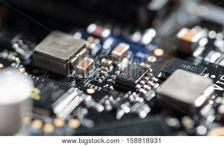 See how it is made. Macro close up of important chip as a part of drone.