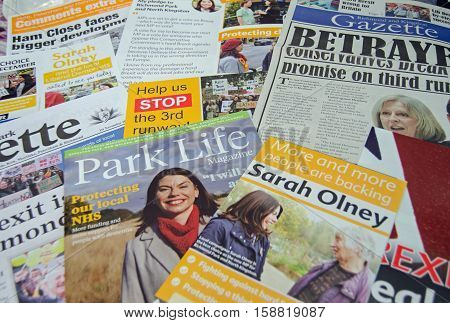 RICHMOND-UPON-THAMES UK - NOVEMBER 28 2016: leaflets promoting the Liberal Democrat candidate Sarah Olney in the Richmond Park by-election to be held on December 1 2016. The by-election is being held because Zac Goldsmith resigned as a Conservative MP in