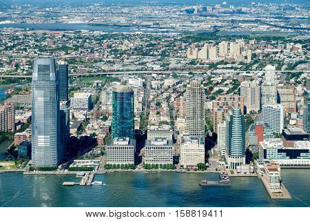 Aerial view of Jersey City in New Jersey on a beautiful summer day