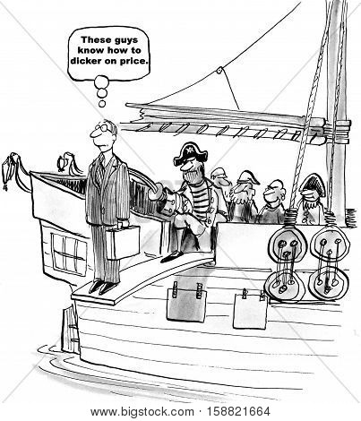 Black and white business cartoon of a pirate making a salesman walk the plank because he will not lower his price.