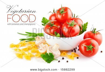 vegetarian food with tomato and champignons isolated on white background