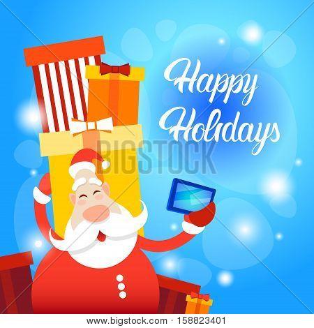 Santa Claus Present Box Making Selfie Photo Merry Christmas Greeting Card Happy New Year Flat Vector Illustration