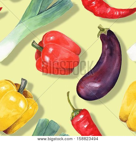 Watercolor vegetables. Hand drawn seamless pattern 12