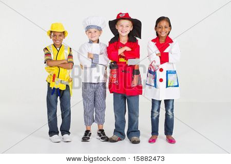 group of little workers in uniform