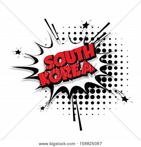 Lettering South Korea Comic text sound effects pop art vector Sound bubble speech phrase cartoon text cartoon balloon expression sounds illustration Comic text background template. Comics book balloon