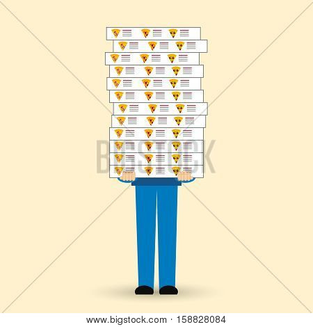 Pizza delivery vector illustration. Flat design. The employee of the delivery service brought in the hands of many boxes of pizza.