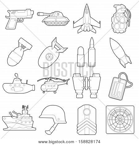 Military icons set. Outline cartoon illustration of 16 military vector icons for web