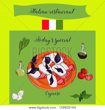 Today's Special Caprese. Italian Restaurant. Dish With Salad.