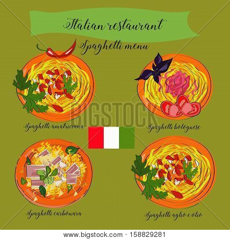 Spaghetti Menu For Italian Restaurant, Carbonara, Bolognese, Aglio E Olio, Amatriciana. Traditional