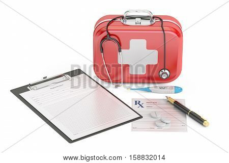 First Medical Aid and Diagnostic concept 3D rendering isolated on white background