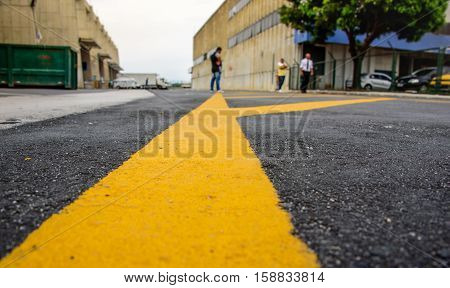 Marking on the pavement in the cargo terminal where all-cargo aircrafts usually park, this complex is now informally known as the old Galleon, Rio de Janeiro, Brazil