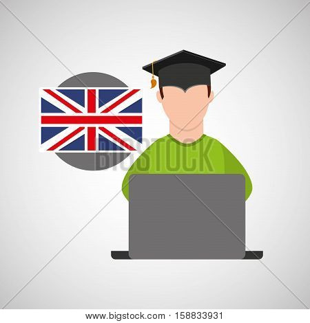 character graduation online education flag england vector illustration eps 10