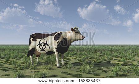 Cow with bio hazard sign.   3D Render