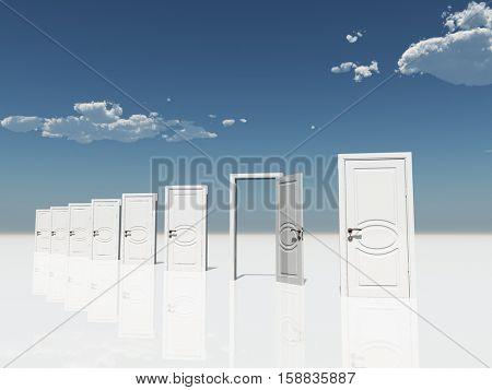 Single open door among several  in surreal landscape   3D Render