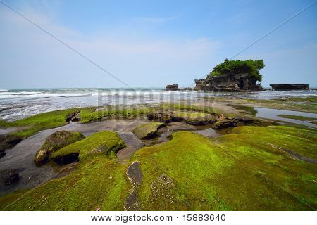 Indonesian temple in sea. Tanah lot complex. Bali. Indonesia