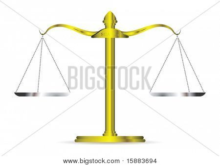 Metal golden scales of justice and silver chains and tray