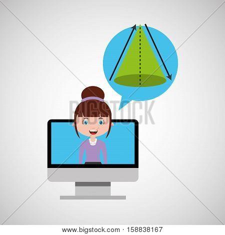 geometry education online design girl bubble speech and vector illustration eps 10