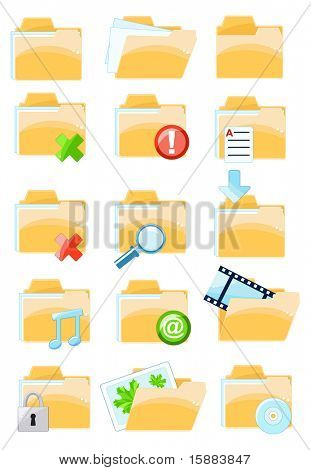 Set of vector folder icons