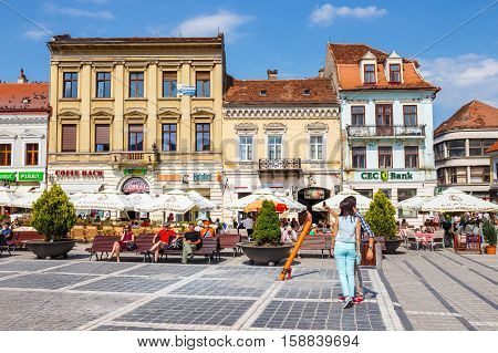 Brasov, Romania - 15 July, 2014: The Main Square Of The Medieval City Of Brasov, Main Touristic City