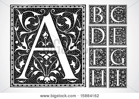 Vector decorativo alfabeto - a-i