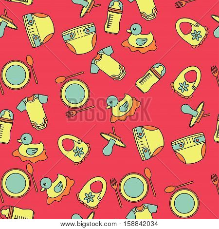Child and baby cute seamless pattern. Kindergarten vector illustration