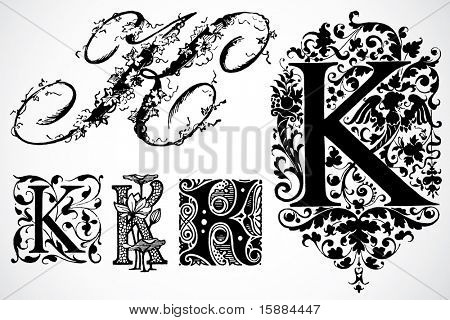 Vector Letter K - Set 2