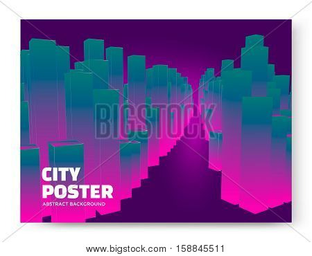 Luminescent city background. Cityscape abstract poster. Vector