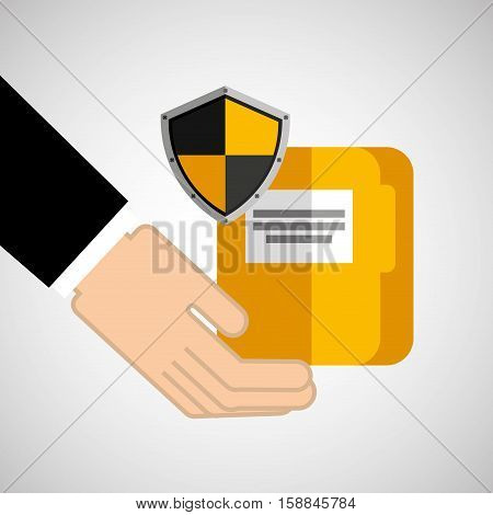 security concept hand with folder vector illustration eps 10