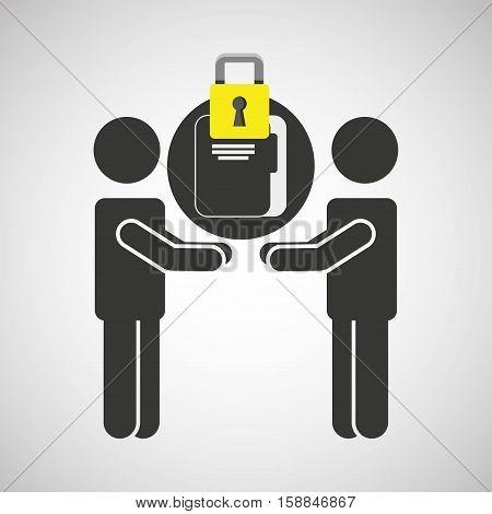 silhouette men file internet safety vector illustration eps 10
