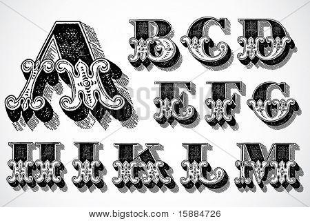 Vector Decorative Alphabet - A-M