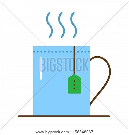 Cup with hot tea and teabag. Mug with herbal beverage. Vector flat icon. Illustration isolated on white background.