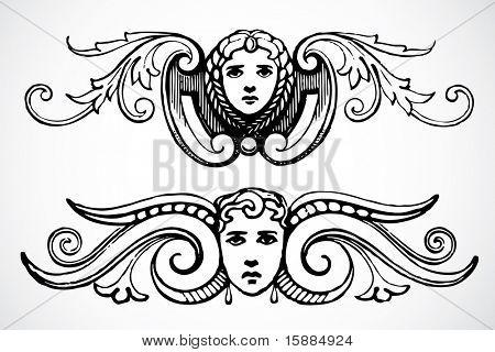 Vector Female Header Ornaments
