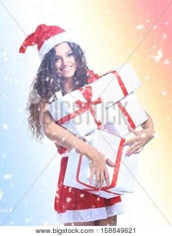 Christmas Santa woman portrait hold christmas gifts