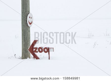 horizontal image of a large telephone pole with a home made round wood sign with a happy face nailed to it with a wooden zoo sign in red with an arrow sitting on a blanket of snow in the winter time.