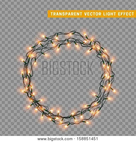 Garlands, Christmas decorations lights effects. Isolated vector design elements. Glowing lights for Xmas Holiday greeting card design. Christmas decoration realistic luminous garland
