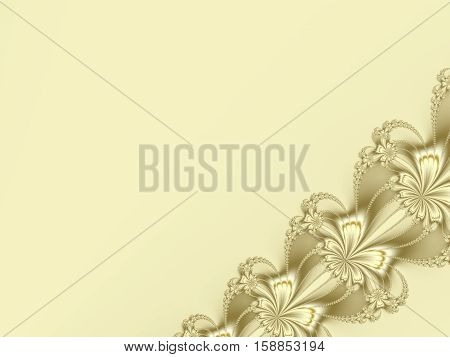 Fancy diagonal ribbon fractal in gold or pale yellow, resembling flowers. Text space. For candy box designs, templates, cards, skins, books, leaflets, pamphlets, websites, PC or phone background.