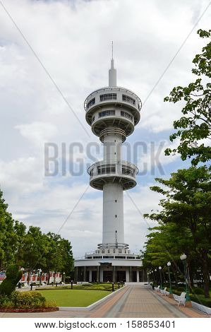 Supanburi Thailand June 30, 2013 : Banhan-Chaemsai tower travel and landmark named of Thai former prime minister Mr. Banhan Silopacha and his wife, he was pass away on April 23, 2016