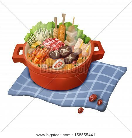 Chinese Food, Hot Pot, Casserole isolated on White Background. Digital CG Artwork, Concept Illustration, Realistic Cartoon Style Object