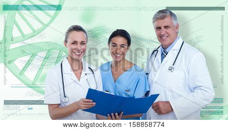 Portrait of happy doctors and nurse with clipboard against 3D genes diagram on white background