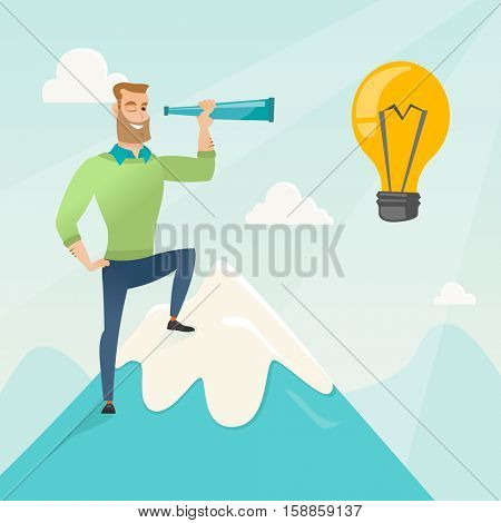 Caucasian businessman standing on the peak of mountain and looking through spyglass at idea bulb. Man looking for business idea. Vector flat design illustration in the circle isolated on background.