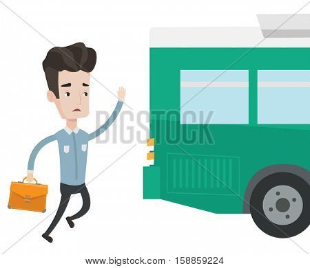 Young businessman running to catch bus. Caucasian man running for a outgoing bus. Man chasing a bus. Latecomer man running to reach a bus. Vector flat design illustration isolated on white background.