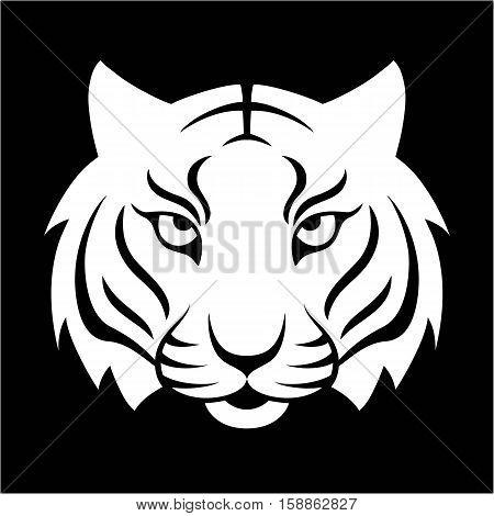 Tiger icon. Vector illustration for logo design, t-shirt print. Tiger mascot.