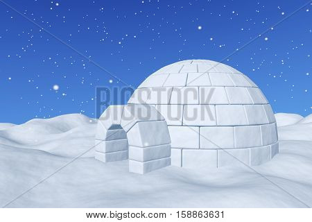 Igloo Icehouse Under Blue Sky With Snowfall Closeup