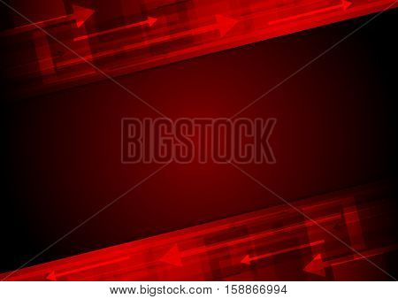 Dark red tech motion abstract background with arrows. Vector design template