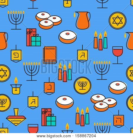 Hanukkah seamless pattern. Hanukkah symbols. Hanukkah candles, menorah, sufganiot and dreidel. Vector illustration for jewish holiday Hanukkah.