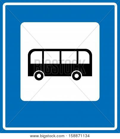 Bus stop sign , traffic road sign. Black white symbol of bus station isolated on blue, vector illustration, banner for road, autobahn, traffic and public places