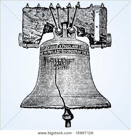 Ilustración de la campana de la libertad en grabar en madera estilo vector. Fácil cambiar colores.